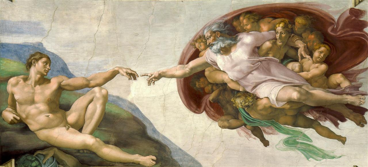 [Nuotrauka] [Adomo sutvėrimas (Mikelandželas), 1511](https://lt.wikipedia.org/wiki/Adomo_sutv%C4%97rimas_(Mikeland%C5%BEelas))