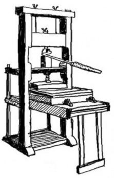 Presas / knygų spausdinimas (Johano Gutenbergo pasiekimas + surenkamos raidės / šriftas)