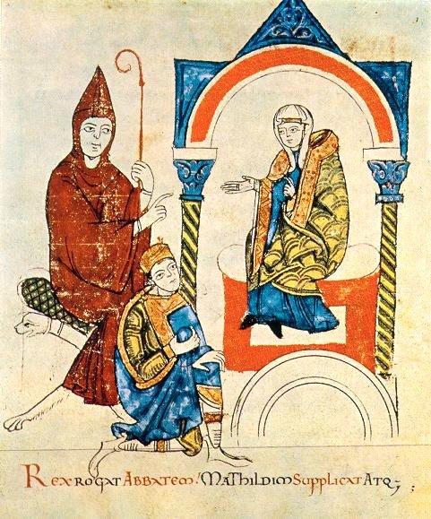 [Nuotrauka] Karalius Henrikas IV (miniatiūros viduryje) prašo Kliuni abatą Hugoną ir markgrafienę Matildą Toskanietę užtarti jį prieš popiežių