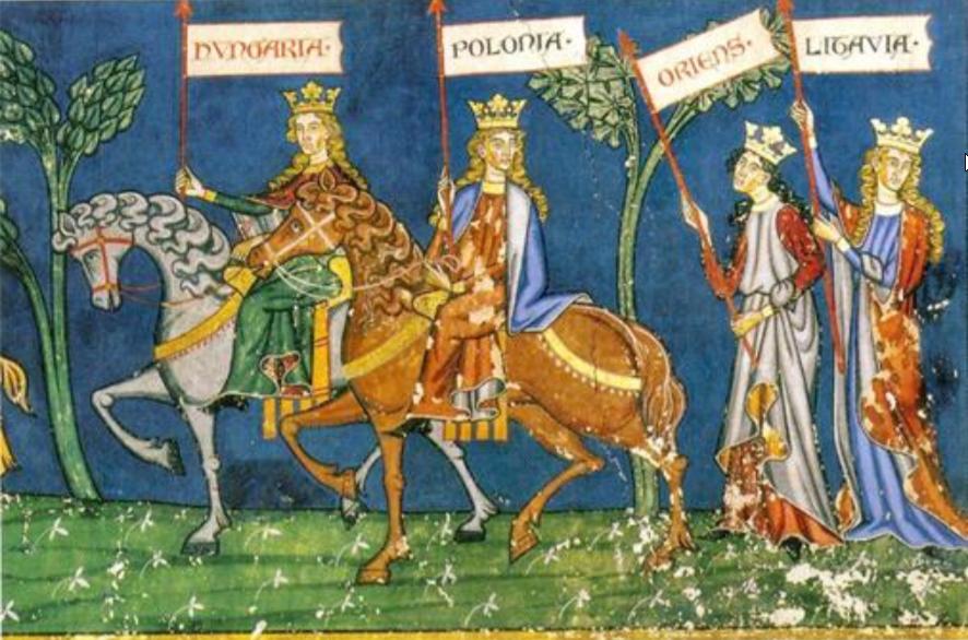 """[Nuotrauka] Strasbūro Šv. Petro naujosios bažnyčios freskos """"Tautų žygis prie kryžiaus"""" fragmentas<br> (iš 2017 metų istorijos VBE, pagr. sesija) <br><br> Užrašai ant vėliavų:<br> """"Hungaria"""" – Vengrija, """"Polonia"""" – Lenkija, """"Oriens"""" – stačiatikių žemės, """"Litavia"""" – Lietuva."""