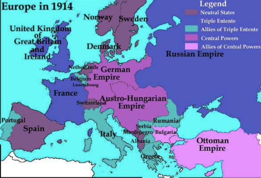 1914 m. žemėlapis